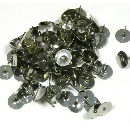 400 8mm Flat Pad Basic 12mm Post Earring Finding Package of 200 Pair Plus Bonus Rubber Earnuts