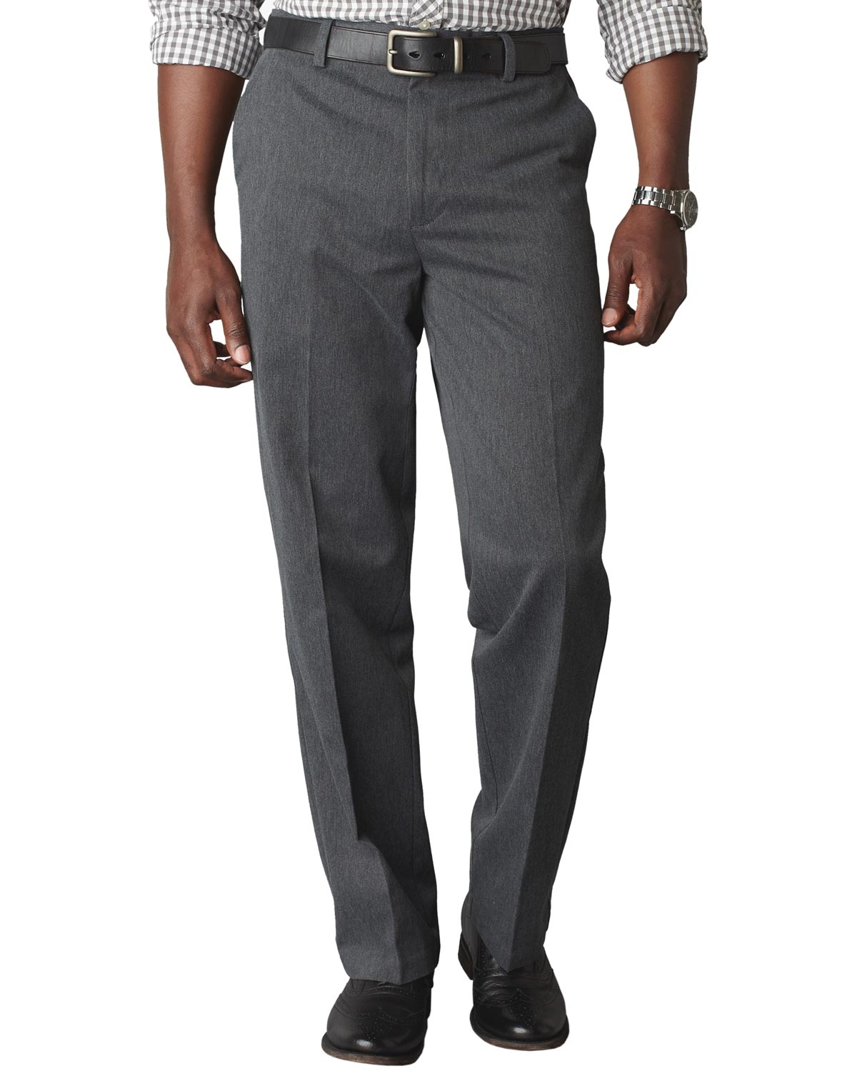 Dockers Classic Fit Signature Flat Front Chinos Pants Charcoal 34 x 30 by Dockers