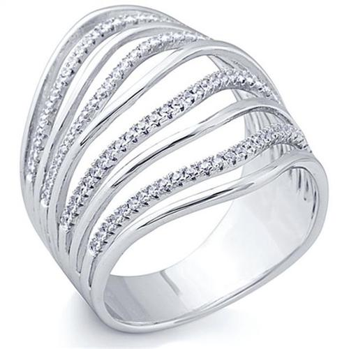 Doma Jewellery SSRZ6676 Sterling Silver Ring With Micro Set CZ, Size 6