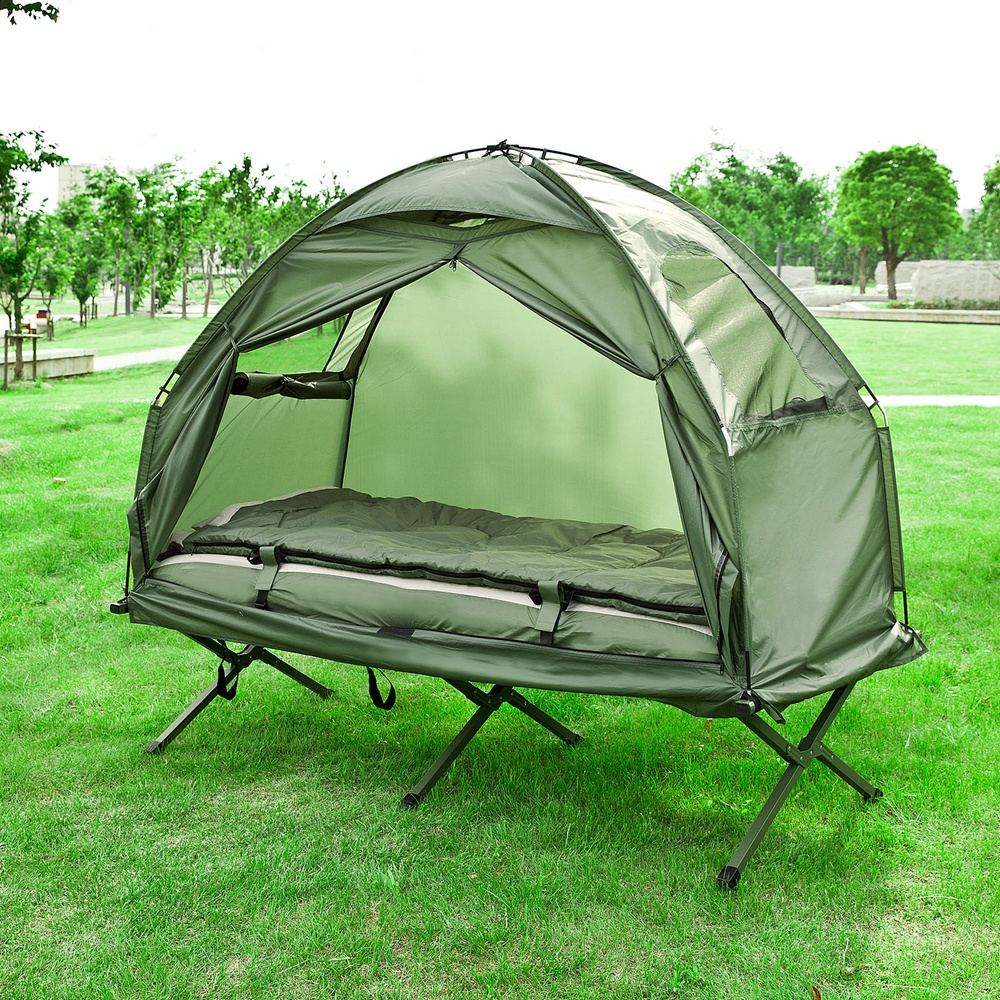 Haotian Compact Collapsable Portable C&ing Cot Air MattressPop-Up Tent Tent : tent with cot - memphite.com