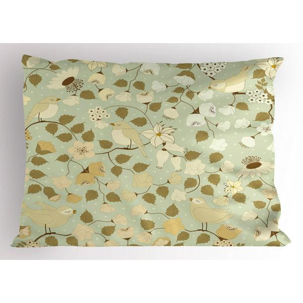 Floral Pillow Sham Vintage Retro Swirls Ivy Flowers Birds