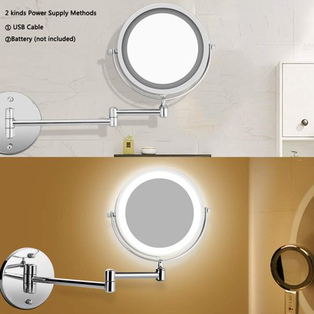 Wall Mounted Makeup Mirror Led, Lighted Makeup Vanity Mirror Canada