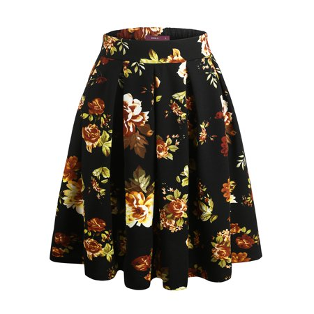 bcccf661ad901 Doublju Solid   Floral Printed Flare Pleated Skater Skirt (Plus size  available) - Walmart.com