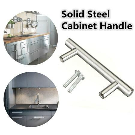 - Stainless Steel T bar Modern Kitchen Cabinet Door Handles Drawer Pulls Knobs