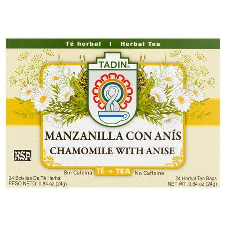 (4 Boxes) Tadin Herb & Tea Co. Chamomile & Anise Herbal Tea, Caffeine Free, 24 Tea Bags