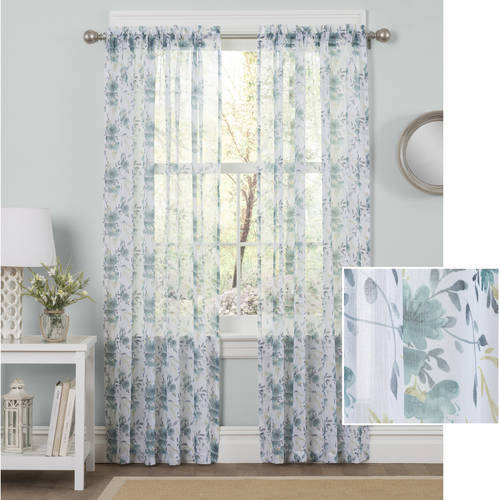 Better Homes and Gardens Watercolor Mums Sheer Curtain Panel