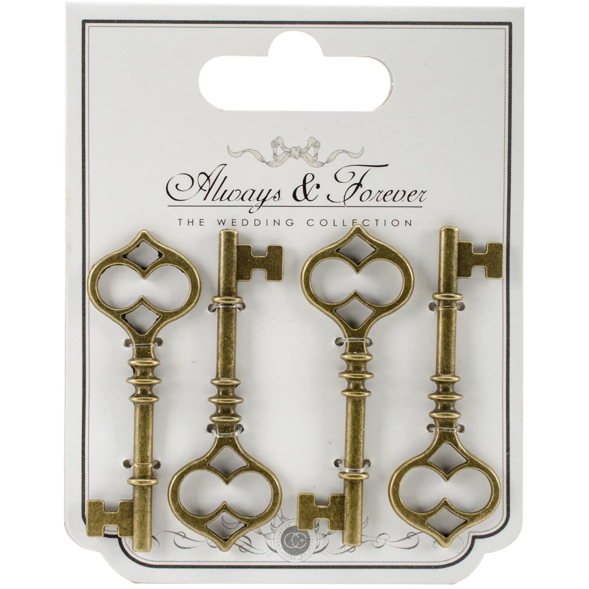 Craft Consortium Always & Forever Metal Key Charms 4/Pkg-Large