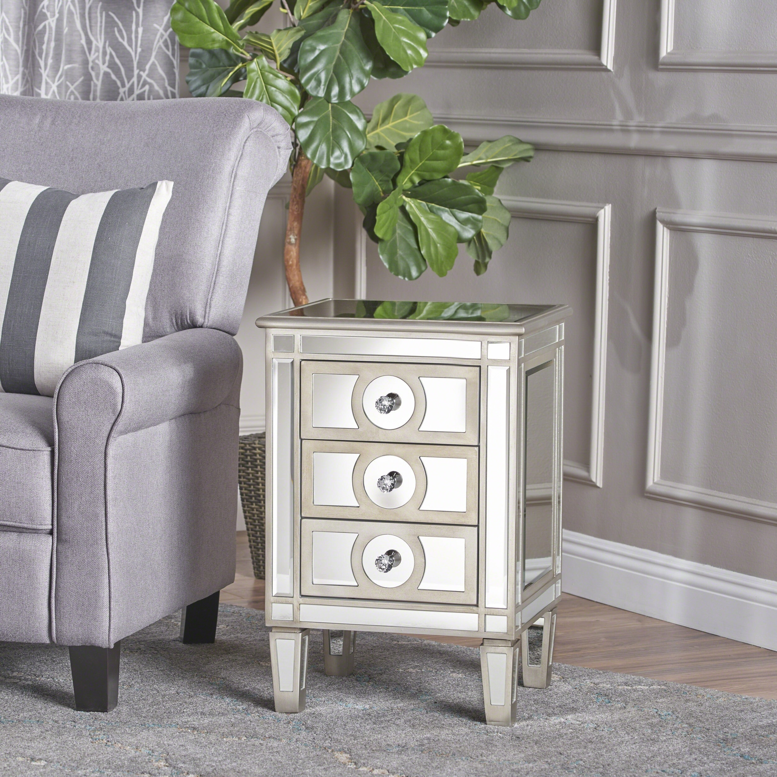 Christopher Knight Home Maeve Mirrored 3-Drawer Cabinet by