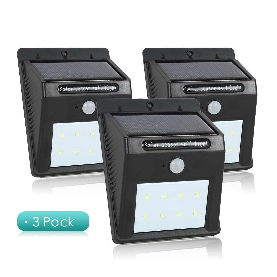 3 Pcs LED Solar Light PIR CDS Motion Sensor Lamp 8 LEDs 80 Lumens Wireless