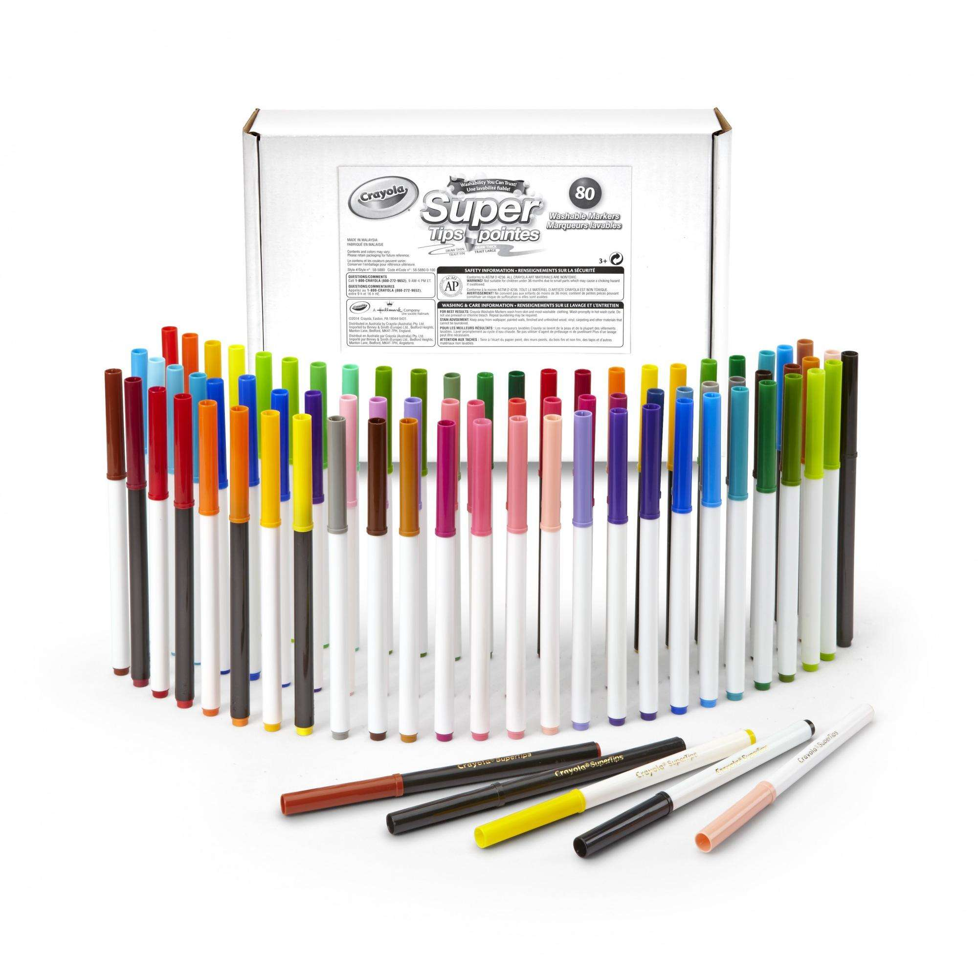 Crayola Super Tips Markers Set, Washable Markers, 80 Count