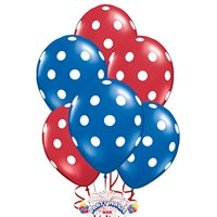 Polka Dot Balloons 11in Premium Sapphire Blue and Crystal Red with All-Over print white Dots Pkg/25
