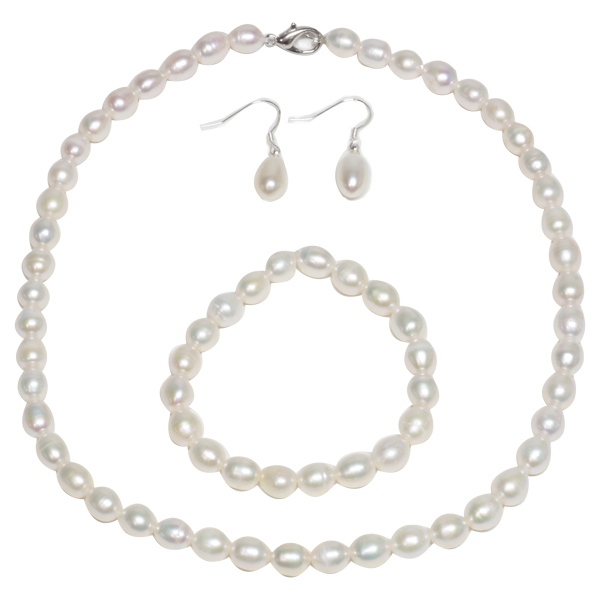 Genuine Cultured Freshwater White Pearl Necklace Bracelet & Earring Set