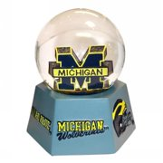 ncaa michigan wolverines logo musical snow globe