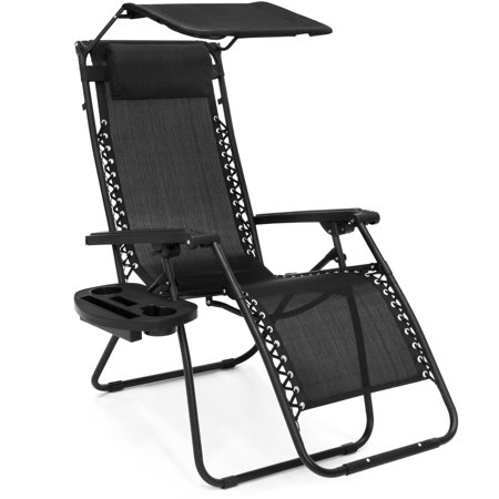 Folding Zero Gravity Recliner Lounge Chair W  Canopy Shade   Magazine Cup Holder  Black