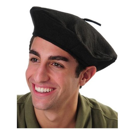 Adult Mens or Womens Black French Beret Novelty Party Beatnik Hippie Hat