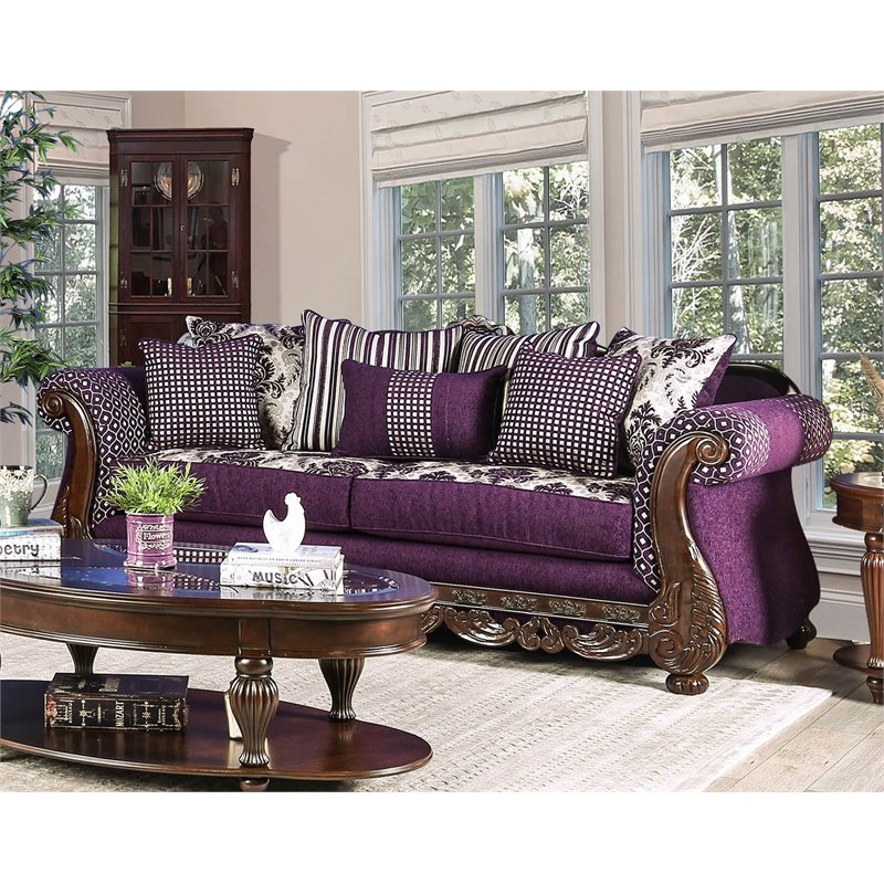 Furniture of America Ivy Traditional Sofa in Purple and Silver