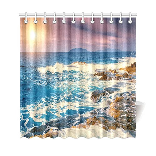 GCKG Fantastic View Of Seascape Shower Curtain Vintage Sunset Tropical Beach Coastal Polyester Fabric Bathroom Sets With Hooks 66x72 Inches
