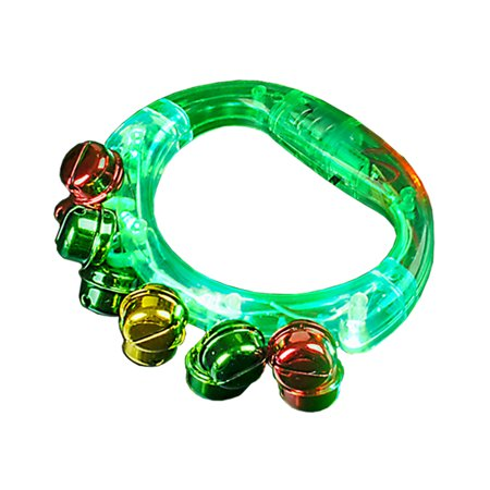 Light Up Christmas Green Jingle Bell Tambourine Noise Maker Toy - Sport Noisemakers