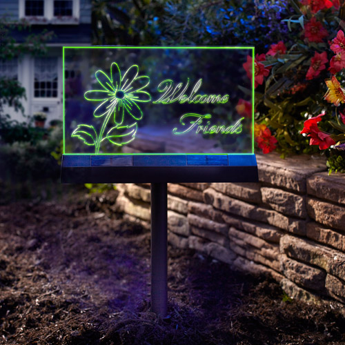 Moonrays 96951 Solar Powered LED Welcome Friends Garden Stake Sign