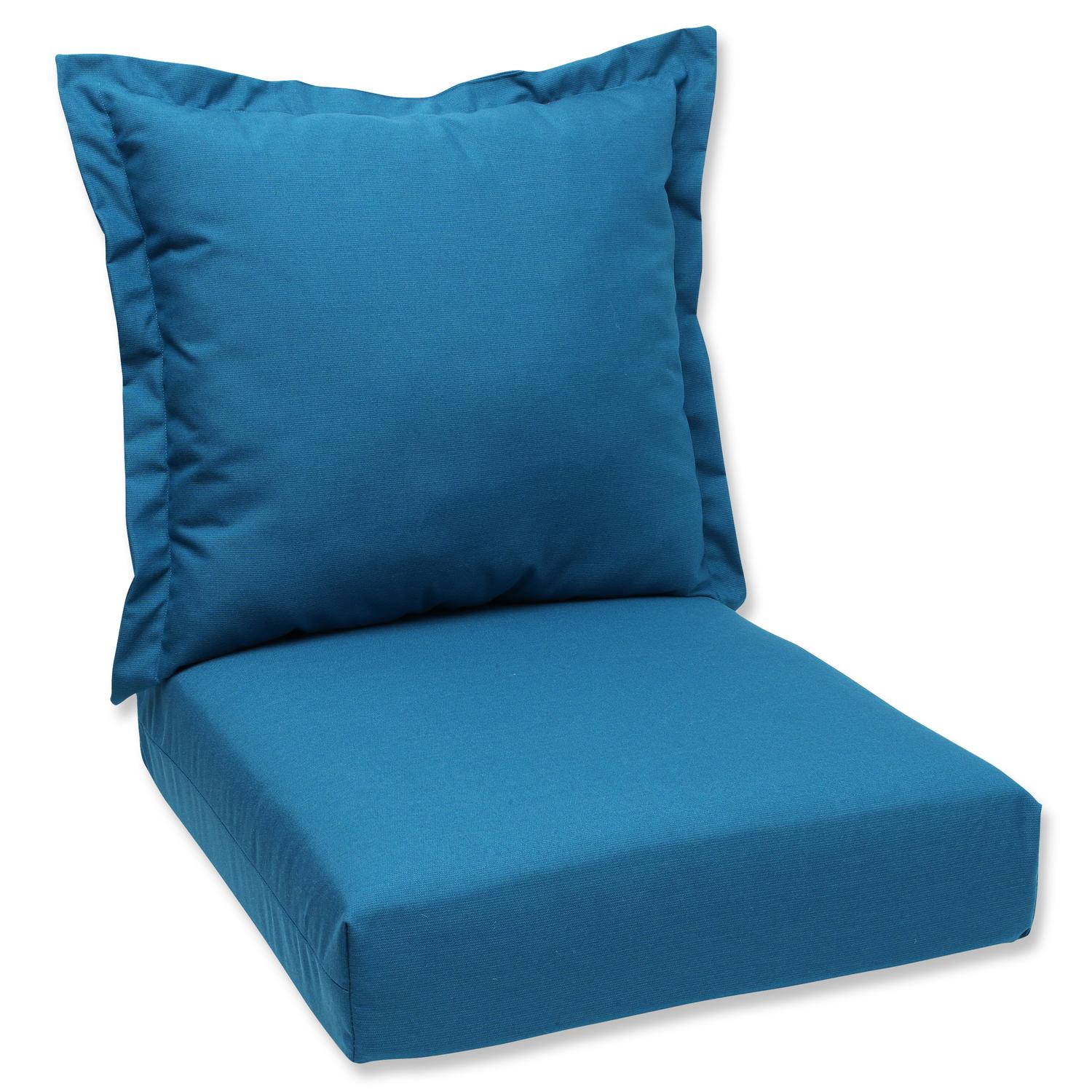 "44"" Sunbrella Peacock Blue Outdoor Patio Deep Seating Cushion and Back Pillow"