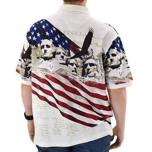 Men/'s Tech Fabric Patriotic Polo Shirt Declaration Independence American Flag