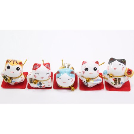 Set of 5 Japanese Cat Figurines Cute Smiley Waving Lucky Fortune Cat US (Javanese Cat)