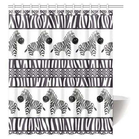 MYPOP Zebra Print Decor Shower Curtain Cute African Animal And Skin Fashionable Trendy Decorating Bathroom Set With Hooks 60 X 72 Inches
