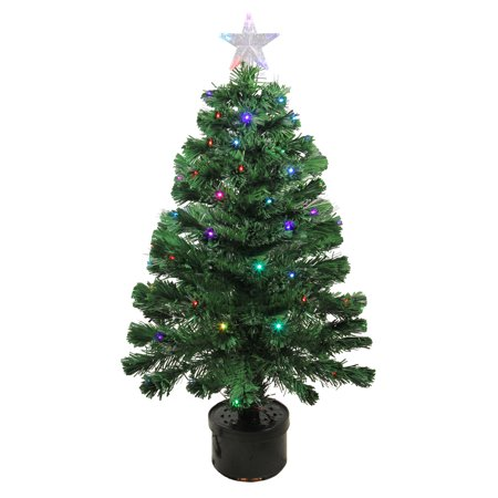 Northlight 3 Prelit Artificial Christmas Tree Led Color Changing Fiber Optic With Star Topper