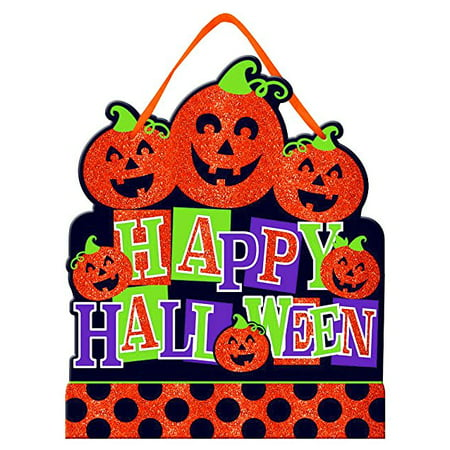 Glitter Happy Halloween Pumpkin - Happy Halloween Glitter Sign