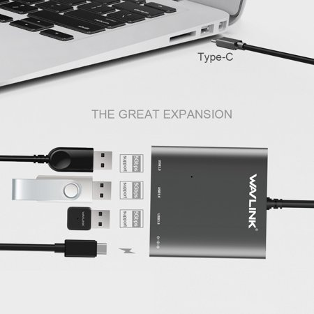 Wavlink Aluminum PD Type-c USB 3.1 Hub USB C HUB Type C to 3-Port USB 3.0 Hub with type c input charging port (Power delivery), for Macbook, Chromebook Pixel/Dell XPS 13/Yoga 900/Asus Zen AIO/Lumia 9