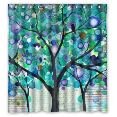 GreenDecor Abstract Watercolor Art Green Tree Dot Art Waterproof Shower Curtain Set with Hooks Bathroom Accessories Size 66x72 inches (Dot Shower Curtain Hooks)