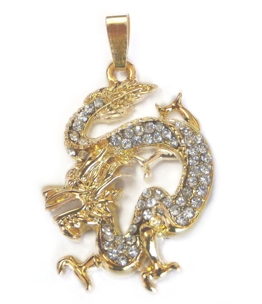 Bejeweled golden dragon pendant aloadofball Choice Image