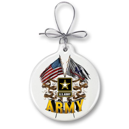 - ARMY DOUBLE FLAG US ARMY-Christmas Tree Ornaments
