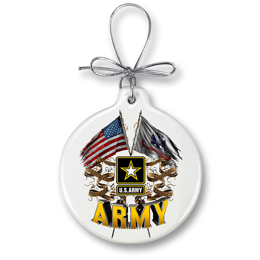 ARMY DOUBLE FLAG US ARMY-Christmas Tree Ornaments