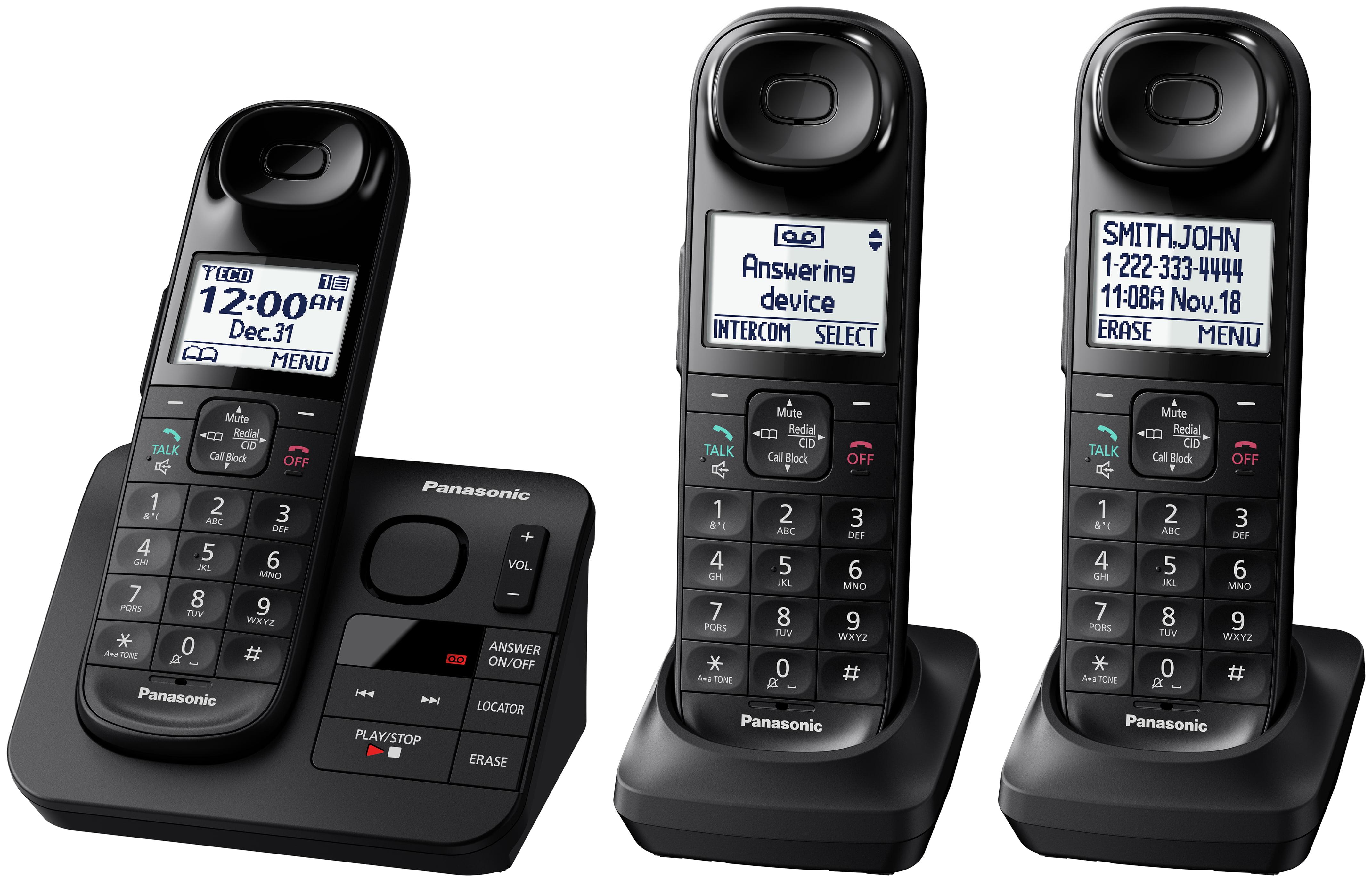 Panasonic Black Cordless Telephone With 3 Handsets And Answering Machine