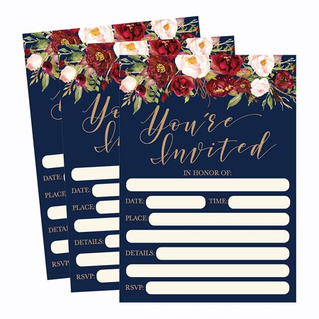 50 Floral Invitations, Fall Bridal or Baby Shower Invite, Birthday Invitation Wedding Rehearsal Dinner Invites, Autumn Engagement Bachelorette Reception Anniversary, Housewarming, Graduation, Sweet 16