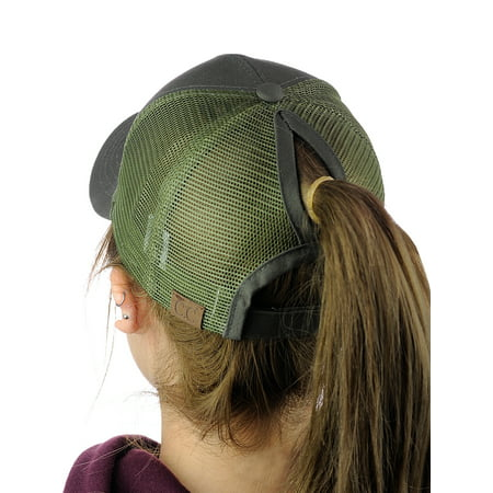C.C Ponycap Messy High Bun Ponytail Adjustable Mesh Trucker Baseball Cap Hat, Olive