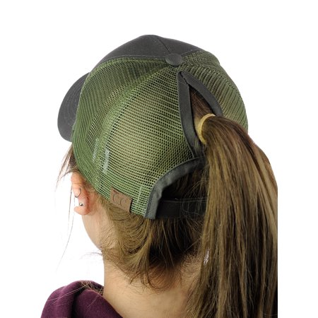 Red Hat Fashion - C.C Ponycap Messy High Bun Ponytail Adjustable Mesh Trucker Baseball Cap Hat, Olive
