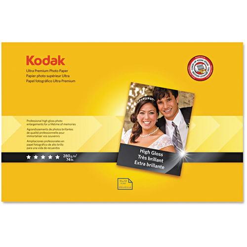 "Kodak Ultra Premium Photo Paper, 10 mil, High-Gloss, 11"" x 17"", 20 Sheets/Pack"