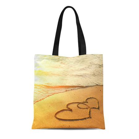 JSDART Canvas Tote Bag Love Hearts Drawn Sand of Beach Wedding Romantic Summer Durable Reusable Shopping Shoulder Grocery Bag - image 1 de 1