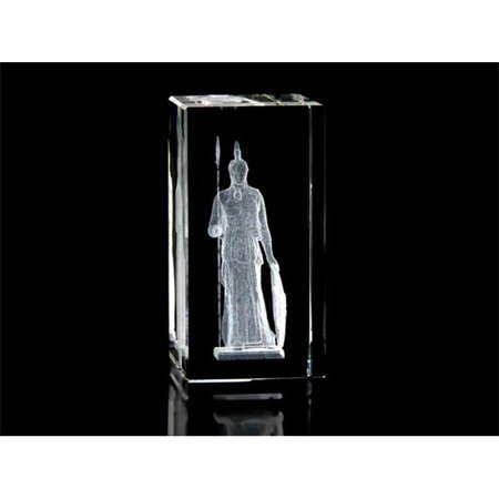 Asfour Crystal 1159-100-62 4 L x 2 H x 2 W in. Crystal Laser-Engraved Greek Warrior Miscellaneous Laser-Cut