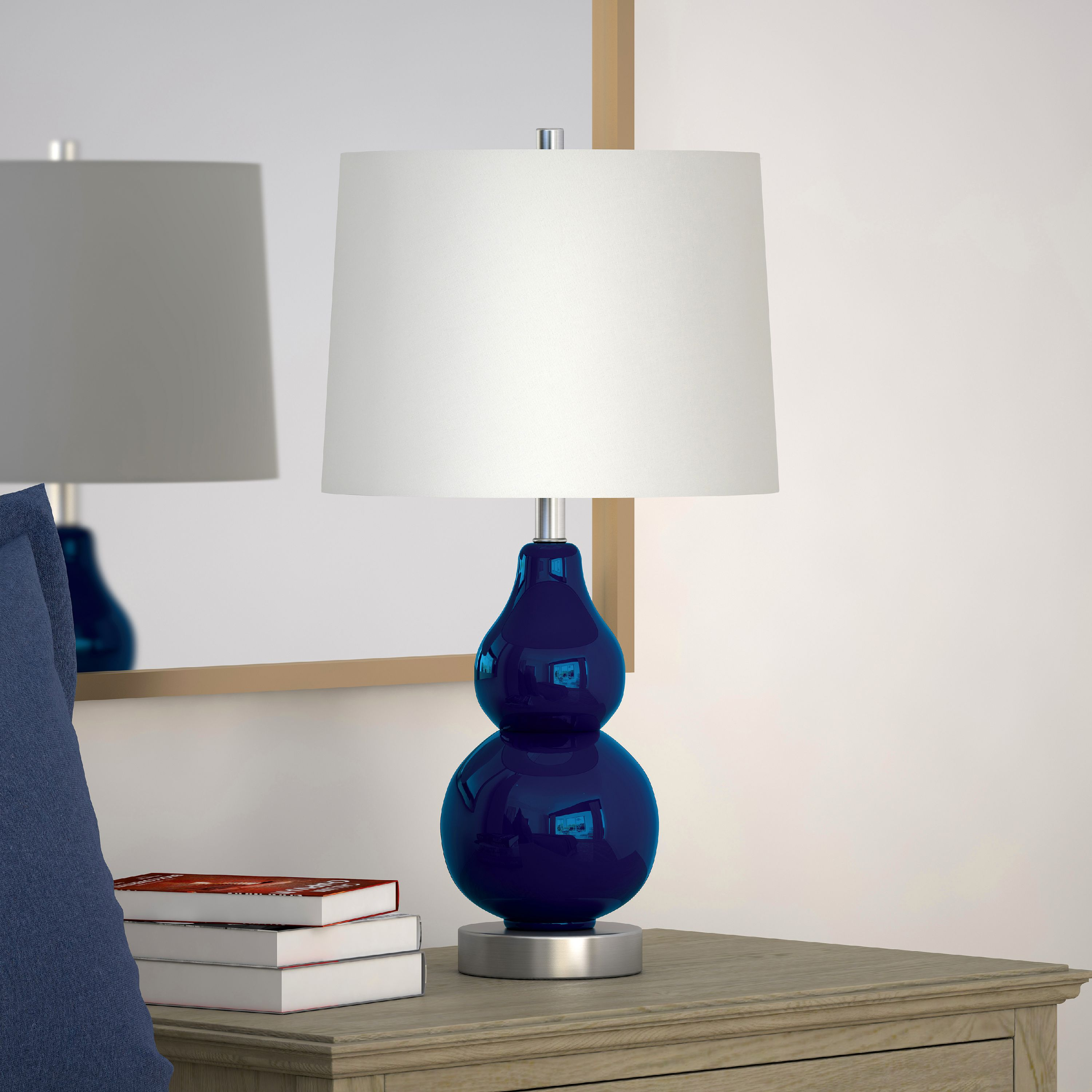 Katrina Coastal Glam Double Gourd Petite Table Lamp in Navy Blue