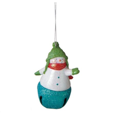 "Ganz 3.5"" Glittered Snowman with Turquoise Jingle Bell Christmas Ornament - Green/Blue"