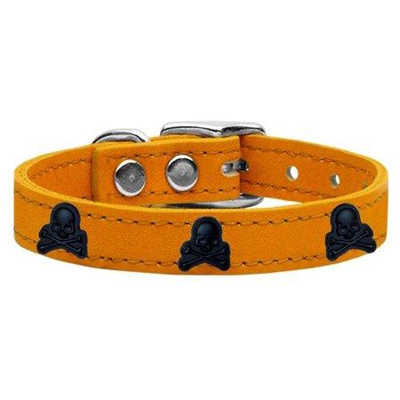 Skull Widget Genuine Leather Dog Collar Mandarin - Mandarin Collar Pattern