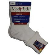 MediPeds Lightweight Turncuff, Ladies Large, White, 1 Pr