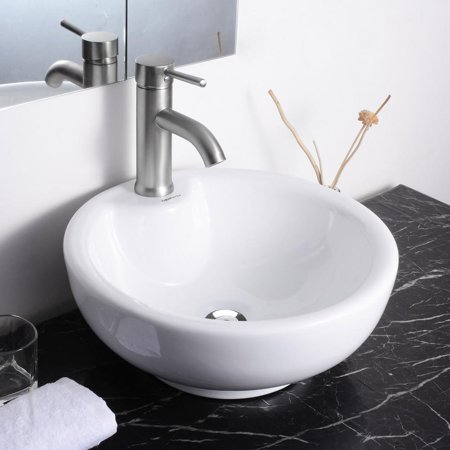 Bathroom Ceramic Vessel Sink Bowl - Aquaterior Round Porcelain Bathroom Vessel Sink Bowl Basin Ceramic w/ Chrome Drain Overflow White