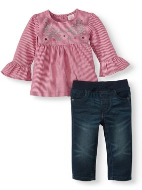 Wonder Nation Baby Girl Bell Sleeve Tunic and Skinny Jeans, 2pc Outfit Set