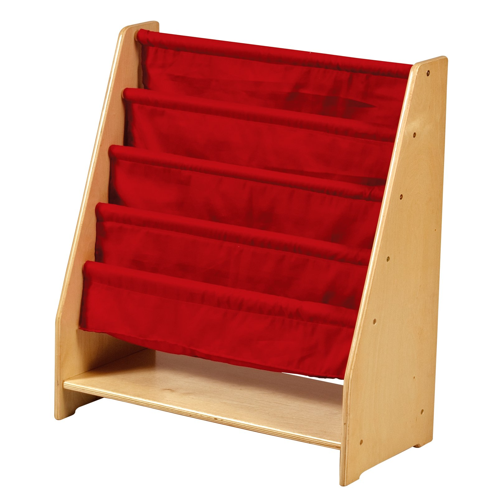 Guidecraft Kids Book Rack, 4-Tier with Red Fabric Storage Pockets