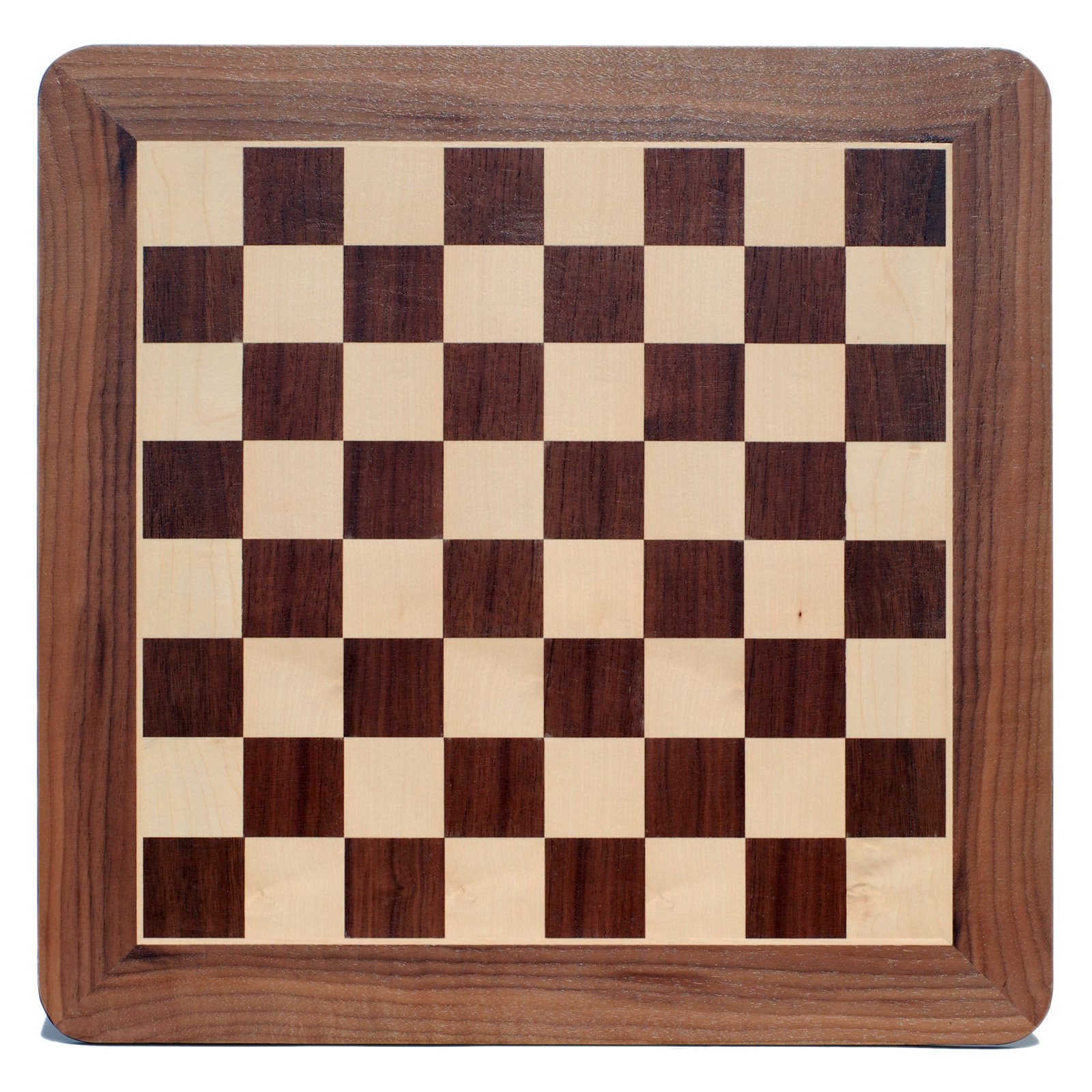 WE Games 19 in. Walnut Chessboard with Inlay Border and Rounded Corners