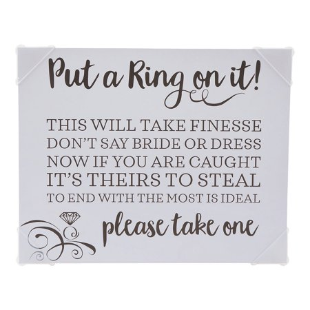 Fun Express - Put A Ring On It Bridal Shower Game Sign for Wedding - Toys - Games - Indoor & Mini Game Sets - Wedding - 1 Piece](Games For Bridal Shower)